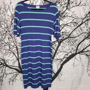LuLaRoe Julia Dress Blue & Teal Striped XL